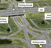 Nieuwe verkeerssituatie naar Amerikaans voorbeeld bij de aansluiting Leiden-West
