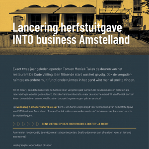 Lancering herfstuitgave INTO business Amstelland